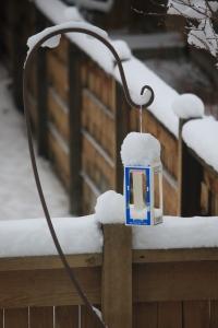 Snowy bird feeders=Spring!