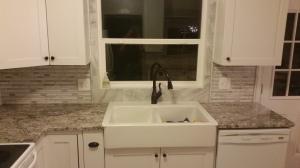 Love my new Ikea apron front sink & the rubbed bronze faucet!